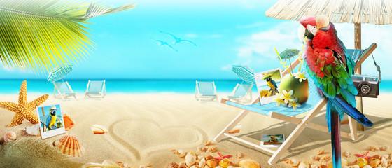 Papagei mit Cocktail im Urlaub am Strand