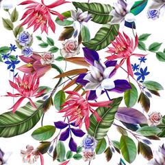 Zelfklevend Fotobehang Abstract bloemen Digital painting of leaf and flowers, seamless pattern