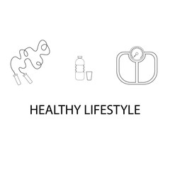 Flat icons vector illustration on the theme of healthy lifestyle for advertising on the website. Infographics on the topic of healthy eating and an active lifestyle for banner screensavers.5