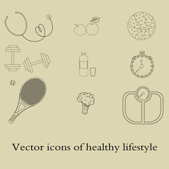 The day of the doctor. A set of flat icons, vector illustrations on the theme of a healthy lifestyle for advertising on the site. Infographics on healthy eating and active lifestyle for designers.