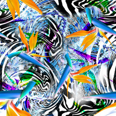 Foto op Plexiglas Paradijsvogel flower dress clothing ,print seamless leopard