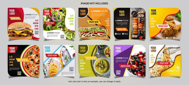 Food social media post collection card template