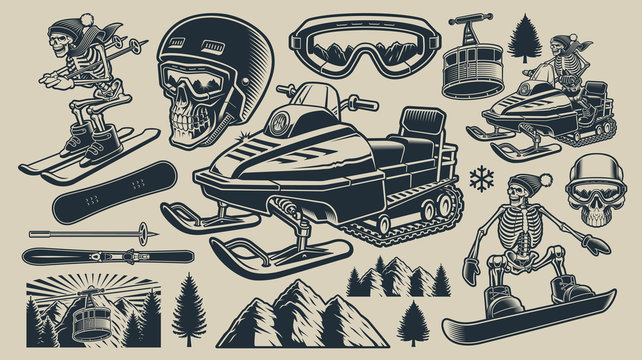 Set of black and white vector illustrations of winter sport