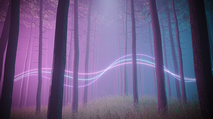 Mystical foggy forest in ultra violet neon lighting with light trails splines. Dark and mysterious scene. 3d render