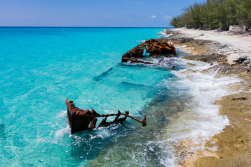 Shipwreck on the Caribbean Shores of Bimini, The Bahamas