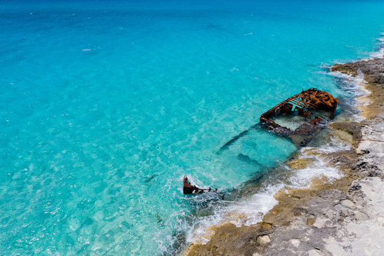 Shipwreck on the Caribbean Shores of Bimini, The Bahamas