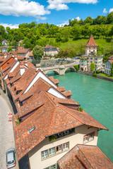 Fototapete - Historical city Bern, Switzerland. Idyllic landscape of Swiss