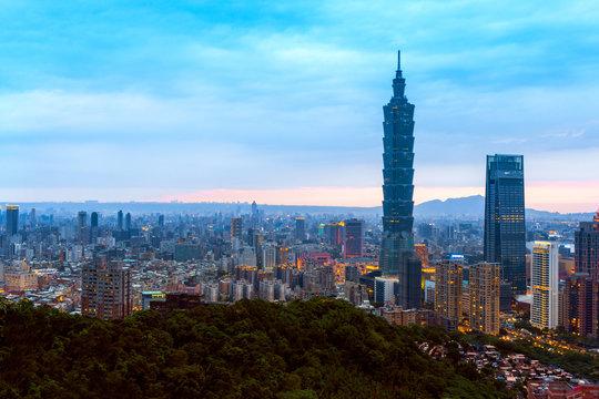 Taipei ,Taiwan: Skyline of Taipei cityscape Taipei 101 building of Taipei financial city ,Taiwan