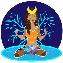 woman sitting with lotus flower at the root chakra