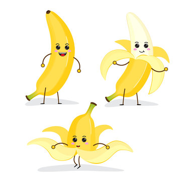 cartoon Funny fruit characters, banana, kawaii characters