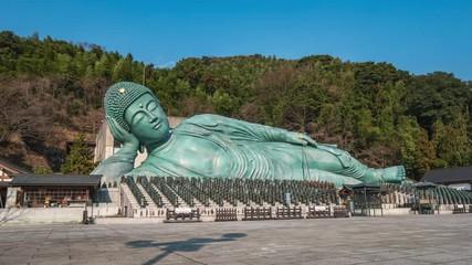 Wall Mural - Nanzoin temple with bronze statue of a reclining Buddha the in Sasaguri, Fukuoka Prefecture, Japan