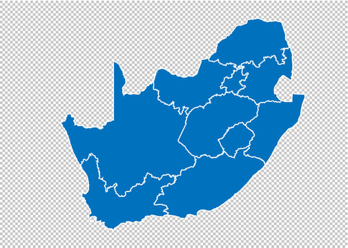 South Africa map - High detailed blue map with counties/regions/states of South Africa. South Africa map isolated on transparent background.