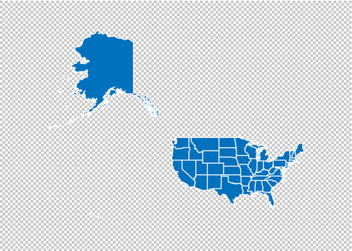 USA Mercator map - High detailed blue map with counties/regions/states of USA Mercator. USA Mercator map isolated on transparent background.