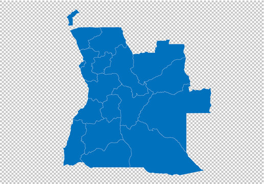 angola map - High detailed blue map with counties/regions/states of angola. angola map isolated on transparent background.