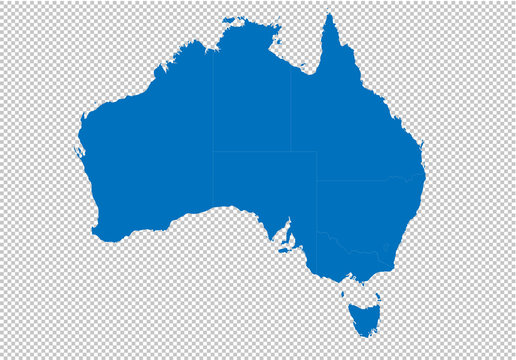 australia map - High detailed blue map with counties/regions/states of australia. australia map isolated on transparent background.