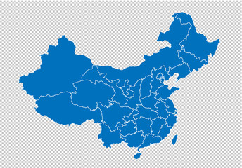 china map - High detailed blue map with counties/regions/states of china. china map isolated on transparent background.