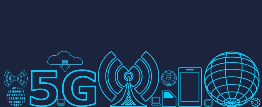 Mobile gadgets technology relative vector image. Web banner with technology thin line icons. 5G Network Symbol.
