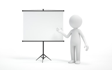 A man standing near projector screen and pointing something. business concept. 3d rendering,conceptual image.