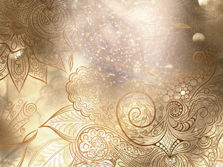 Abstract bronze background with mandala decorations and beautiful lights effects.
