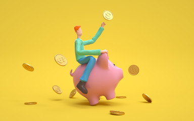 A man sitting on a piggy bank. Earning, saving and investing money concept.  3d rendering,conceptual image.