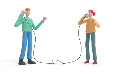 Two man communicating to each other using tin can phone.  communication and technology concept. 3d rendering,conceptual image.