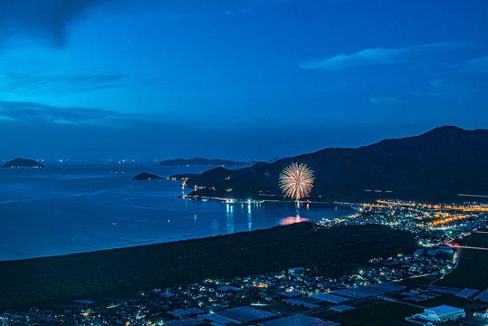 鏡山展望台からの花火(佐賀県唐津市)