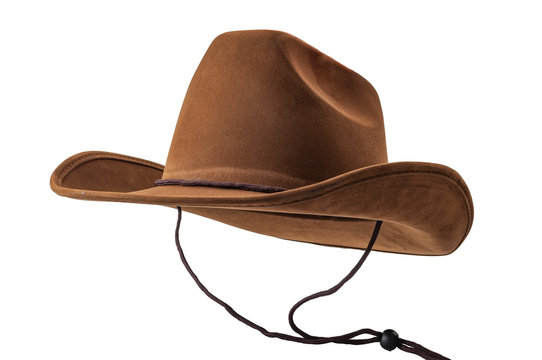 Rodeo horse rider, wild west culture, Americana and american country music concept theme with a brown leather cowboy hat with hanging strings isolated on white background with clip path cut out