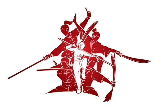 Group of People Kung fu pose, Martial arts with weapons action cartoon graphic vector.