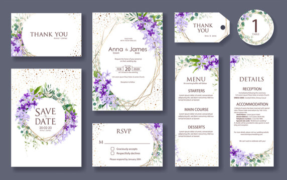 Wedding Invitation card, save the date, thank you, rsvp template. Vector. Purple Wreath flower.