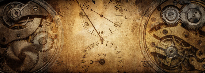 Foto auf Acrylglas Retro The dials of the old antique classic clocks on a vintage paper background. Concept of time, history, science, memory, information. Retro style. Vintage clockwork background.