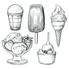 Sketch ink graphic ice cream set illustration, draft silhouette drawing, black on white line art. Delicious vintage etching food design.