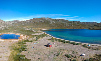 Aerial view of Katiffik Hut and Amitsorsuaq Lake on the Arctic Circle Trail, Greenland