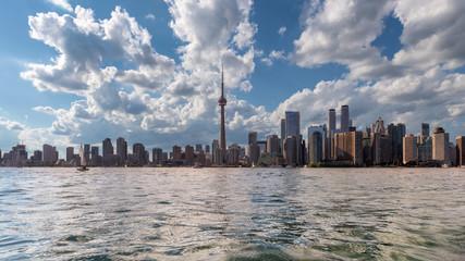 Panoramic view of Toronto city skyline at sunny summer day in Toronto, Ontario, Canada.