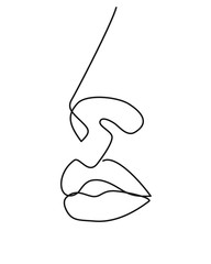 Woman face continuous line drawing. Abstract minimal woman portrait. Logo, icon, label