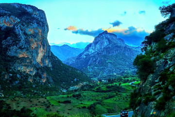 Beautiful sunset in a mountain valley along the road to Chefchaouen in Morocco