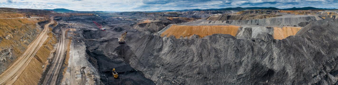 coal mining open pit mine aerial black
