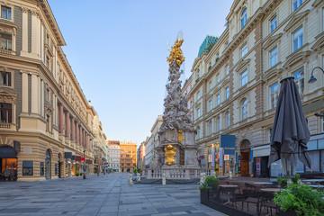 Fototapete - Graben Street in Vienna with the Plague Column, Austria, morning view