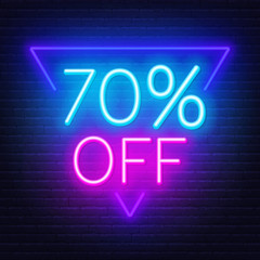 Fototapete - 70 percent off neon lettering on brick wall background