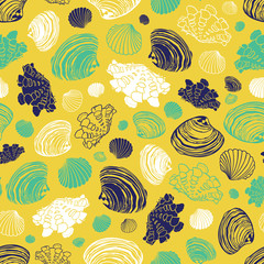 Vector yellow repeat pattern with variety of clam seashells. Perfect for greetings, invitations, wrapping paper, textile, wedding and web design.
