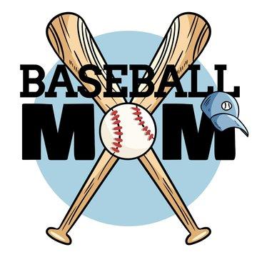 Baseball mom sport banner. Baseball ball and bats typography print