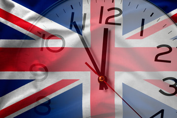 Composite image of British flag and clock