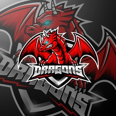 Red dragon esports logo design