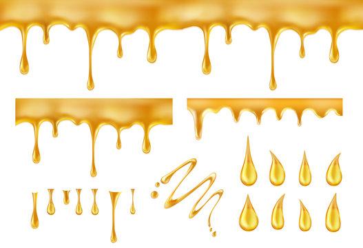 Dripping honey. Golden yellow splashes vector illustration