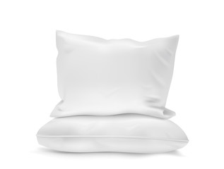 Blank soft pillow on white background. Vector illustration