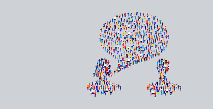 businesspeople crowd gathering in couple chat bubble speech shape different business people group standing together social media communication concept horizontal
