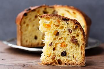Fototapeta Panettone (Italian Christmas cake), sliced obraz