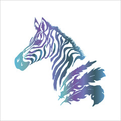 Color gradient illustration of a psychedellic zebra with feathers. Tattoo idea.