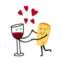 Red wine and cheese. Cartoon cute glass of wine in loves cheese vector illustration