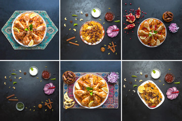 Collage from different pictures of Arabic traditional food bowls Kabsa with meat
