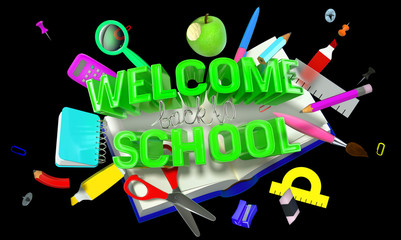 welcome back to school composition with different objects and text